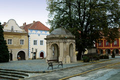 Courtyard and well in K�szeg Stock Photo