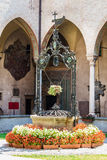 Courtyard with well sanctuary of saint Antonio from Padua. Courtyard and well of shrine of saint Antonio from Padova. Ancient religious construction Royalty Free Stock Photography