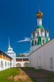Courtyard white orthodox monastery in sunny day Royalty Free Stock Photos