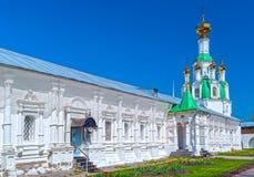 Courtyard white orthodox monastery Royalty Free Stock Photos