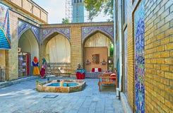 The courtyard of Windcatchers building, Golestan, Tehran stock photos