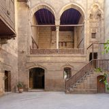 Courtyard of Zeinab Khatoun historic house, located near to Al-Azhar Mosque, Old Cairo, Egypt stock image