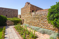 Courtyards and gardens of the famous Palace of the Alcazaba in M Royalty Free Stock Images