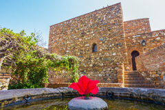 Courtyards and gardens of the famous Palace of the Alcazaba in M Stock Photos