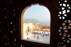 The courtyards from a window. Amer Palace (or Amer Fort). Jaipur. Rajasthan. India Royalty Free Stock Photography