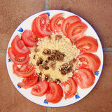Cous cous. Moroccan cous cous with tomatoes Royalty Free Stock Images