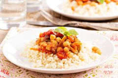 Cous-cous with chickpea and vegetable stew Royalty Free Stock Photo