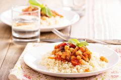 Cous-cous with chickpea and vegetable stew Royalty Free Stock Photography