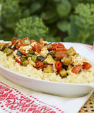 Cous-cous with feta cheese and vegetables Stock Images
