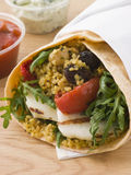 Cous Cous And Grilled Halloumi Tortilla Wra Stock Photo