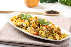 Cous Cous with vegetables. On complex background Royalty Free Stock Images