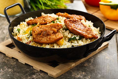 Cous cous with veggies and soy medaillons stock image
