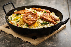 Cous cous with veggies and soy medaillons royalty free stock photography
