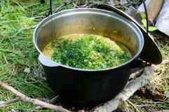 Cous cous för läcker havregröt med kött, grönsaker och nya örter i en krukamatlagning på naturen arkivfoto