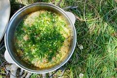Cous cous för läcker havregröt med kött, grönsaker och nya örter i en krukamatlagning på naturen royaltyfria foton