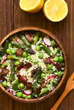 Couscous Asparagus Pea Radish and Bacon Salad Royalty Free Stock Photography