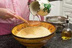 Couscous being prepared Stock Images