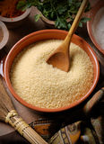 Couscous in a ceramic bowl Royalty Free Stock Photo