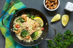 Couscous with Chicken, Broccoli, Tomato and Cashews Stock Images