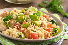 Couscous with Chicken, Leek and Tomato Stock Photo