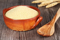 Couscous in an earthenware bowl Stock Images