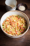 Couscous with green and red bell pepper Royalty Free Stock Images