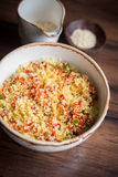 Couscous with green and red bell pepper Royalty Free Stock Image