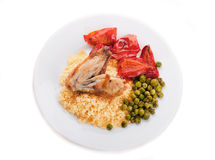 Couscous with green-stuffs Stock Images