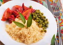 Couscous with green-stuffs. And Arabic tableware, east kitchen Royalty Free Stock Photos