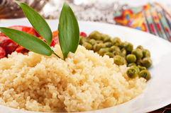Couscous with green-stuffs and Arabic. Tableware, east kitchen Royalty Free Stock Image