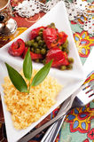 Couscous with green-stuffs and Arabic Stock Photos