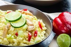 Couscous with grilled chicken meat and vegetables Stock Images