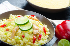 Couscous with grilled chicken meat and vegetables Royalty Free Stock Photo