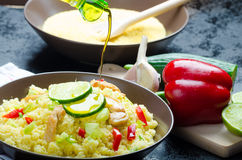 Couscous with grilled chicken meat and vegetables Royalty Free Stock Images