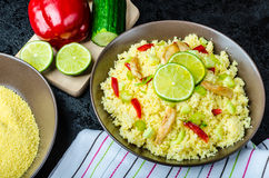 Couscous with grilled chicken meat and vegetables Stock Photography