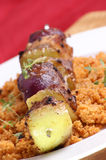 couscous and  meat on a skewer Royalty Free Stock Photography