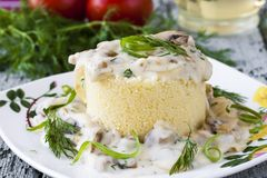 Couscous with mushrooms and onion Royalty Free Stock Photos