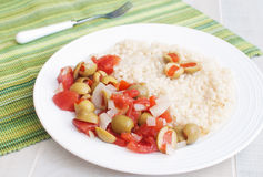 Couscous with olives and pepper salad Royalty Free Stock Photography
