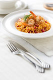 Couscous with prepared shrimps Royalty Free Stock Image