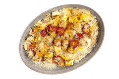 Couscous with Pumpkin Tomatoes and Halloumi Isolated Royalty Free Stock Photo