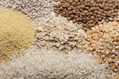 Couscous, rice, pea, grits, oatmeal, lentil. Royalty Free Stock Images