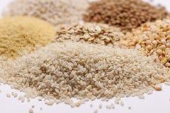Couscous, rice, pea, grits, oatmeal, lentil. Stock Photos