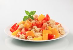 Couscous salad. Couscous with fresh red  and yellow pepper Stock Photos