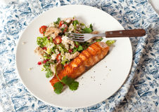 Couscous salad and fish steak Stock Photography