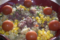Couscous salad with lunch meat Stock Image