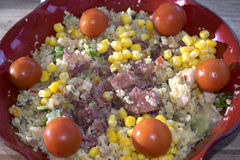 Couscous salad with lunch meat Stock Photos
