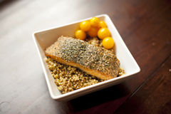 Couscous with Salmon Stock Image