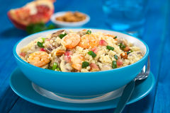 Couscous with Shrimp, Mushroom, Almond and Pomegranate Royalty Free Stock Images