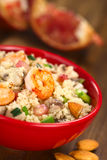 Couscous with Shrimp, Mushroom, Almond and Pomegranate Royalty Free Stock Photo