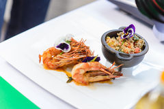 Couscous and shrimps Stock Photography